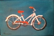 Bicyclette blanche et orange - Michel Thériault