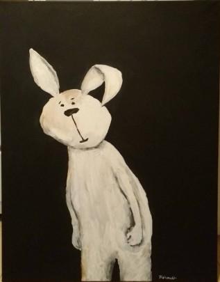 Drôle de lapin blanc sur fond noir - Michel Thériault