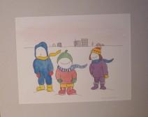 Enfants en hiver - Michel Thériault - aquarelle