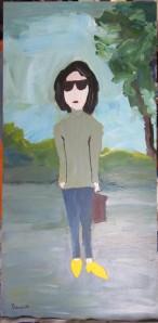 Femme aux souliers jaunes - Michel THÉRIAULT -30,5x15 po. -acrylique sur panneau (masonite)