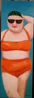 Femme en maillot orange