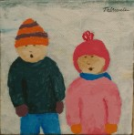Fillette et jeune garçon en hiver - Michel Thériault