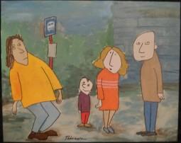 Gens à l'arrêt d'autobus - Michel Thériault