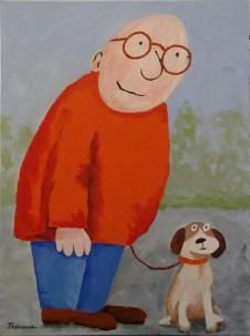 Homme corpulent avec son chien -Michel Thériault