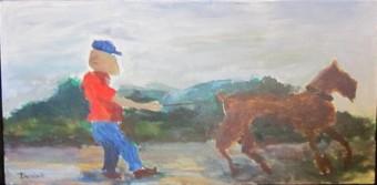 Jeune homme avec chien - Michel Thériault