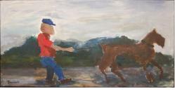 Jeune homme avec gros chien - MThériault