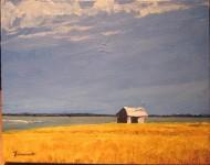 Vieille grange près de la baie - MichelTHÉRIAULT - acrylique sur toile